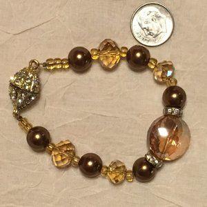 Bronze pearls, glass bead bracelet set